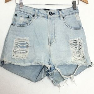 One Teaspoon Destroy Denim Shorts Size 24